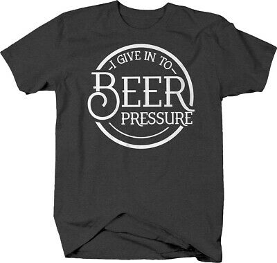 I give in to beer pressure circle caps funny alcohol drinking Tshirt for Men