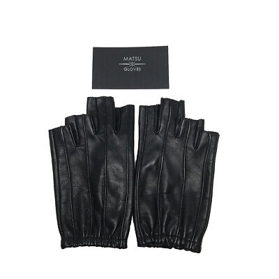 Women Lambskin Unlined Half Fingers Nonslip Protective Leather Gloves Black