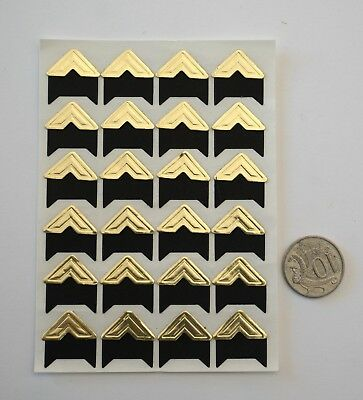 NO 030 Scrapbooking - 24 Gold Photo Picture Adhesive Corners Stickers Scrapbook