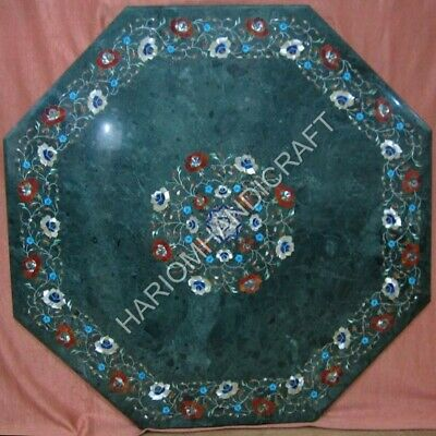 3' Green Marble Dining Table Top Carnelian Mother of Pearl Marquetry Inlay E1391