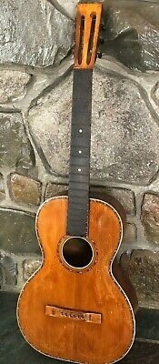 Antique Early 1900's Flat Top Acoustic Parlor Guitar V-Neck - Cross Bracing NICE