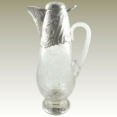 Antique French Sterling Silver Crystal Decanter Pitcher Wine Claret Jug
