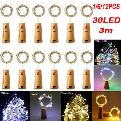12pcs Fairy Cork Lights String Bottle Stopper For Wedding Party Events 3M 30LED