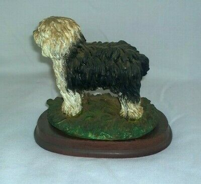 Old English Sheepdog resin ornament on wooden base approx 12cm