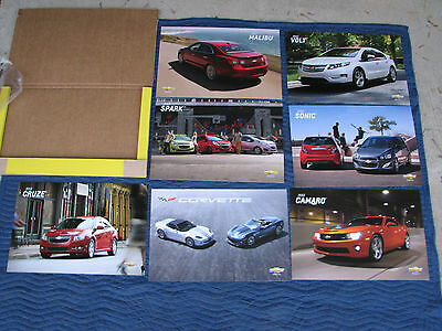 Nos 2013 Dealer Showroom Poster Set Corvette Camaro Ss Impala Volt Malibu Chevy