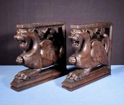 *French Antique Solid Oak Wood Statues/Pedestals with Griffins Salvage