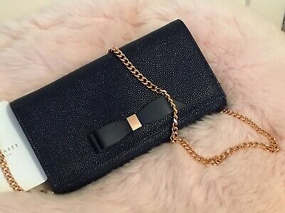 Ted Baker ALAINE Bow Leather Matinee Clutch Bag NAVY BLUE BNWTS SAMPLE