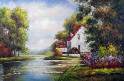 Italian Mill House River Pond Landscape 24X36 Oil Painting By Hand  STRETCHED