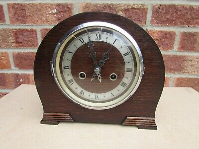 Art Deco style 8 Day Chiming Clock unde Duponic Label 1930s