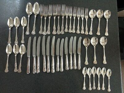 Cooper Bros Sheffield Kings Design Pattern Cutlery Silver Plated 44 Pieces