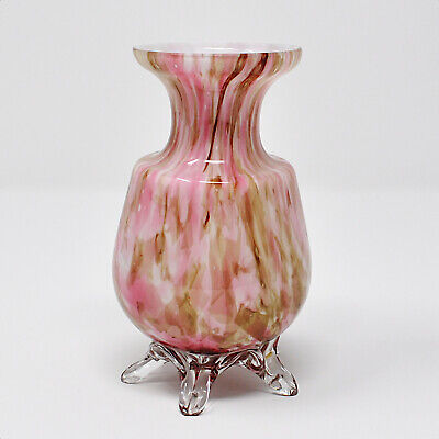 Antique Victorian Pink End of Day Glass Vase with Applied Feet (repaired foot)