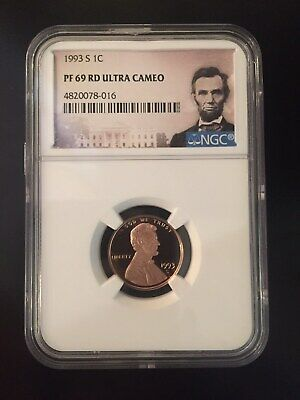 1993-S PROOF LINCOLN CENT 1C ** NGC PF69 RD ULTRA CAMEO (Portrait Label)**