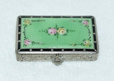 Antique Emerald Green Guilloche Enameled Compact With Painted Roses