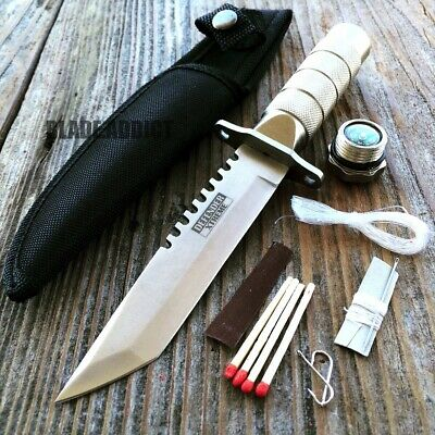 "8.25"" Tactical Fishing Hunting Knife w/ Sheath Survival Kit Bowie Camping Tool T"