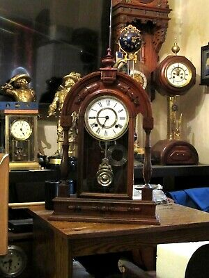 Excellent Antique Ansonia Teardrop Full Column Time & Strike 8 Day Parlor Clock.