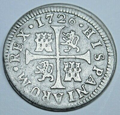 1726 Spanish Silver 1/2 Reales Piece of 8 Real Colonial Era Pirate Treasure Coin