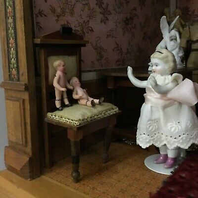 Antique Bisque, Jointed, Tiny Dollhouse Dolls (2)