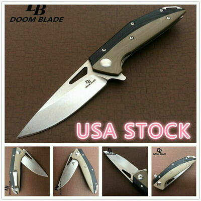 "7.9"" Knives D2 Blade G10 Handle Ball Bearing Folding Knife Survival TACTICAL EDC"