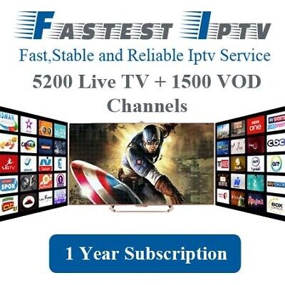 Iptv Subscription - 12  Months-  All Channes Compatible With All Devices