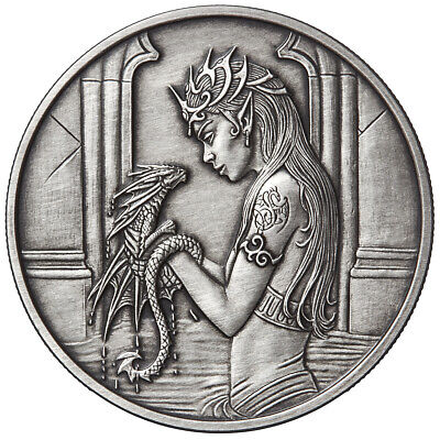 1 Oz Silver Coin Antique Anne Stokes Dragons Water Dragon 4Th In Series # Coa