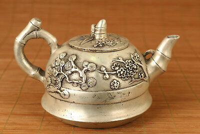 Rare Old Copper plated silver Hand Carved clud flower Statue Tea Pot home deco