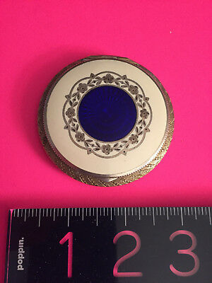 Sterling Silver Gilt Guilloche Compact Enamel Powder with blue/white/silver des