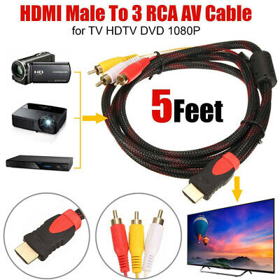 HDMI Male to 3 RCA Audio Video AV Cable Adapter Lead TV HDTV DVD 1080P 150cm