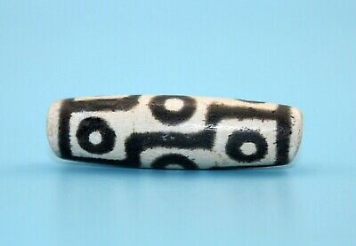 54*15mm Antique Dzi Agate old 9 eyes Bead from Tibet **Free shipping**