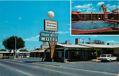 Route 66 Roadside Postcard 2 Views of True Rest Motel, Amarillo, Texas