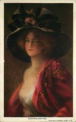 Postcard Beautiful Woman in Large Hat - Evening and You - circa 1910