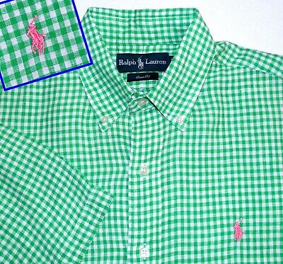 Great Classic M Ralph Lauren Linen Green White Pink Pony Check Plaid Mens Shirt
