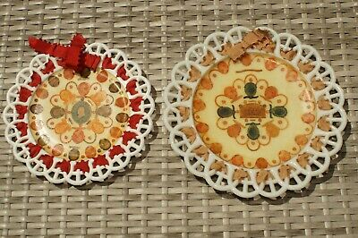 2 Antique Victorian? Milk Glass? Plates - decoupage with U.S. Stamps