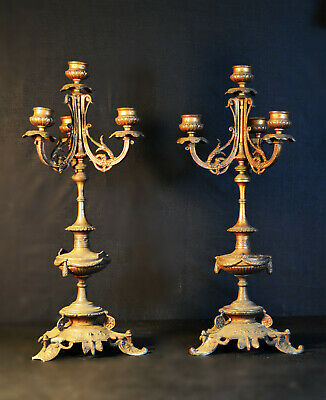 Vintage 1920s French Matching pair of bronze 4 branch candelabras candlesticks