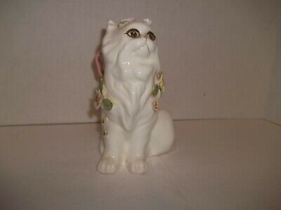 """Vintage Taiwan Adorable Ceramic White Cat Figurine Applied Flowers Pink Bow 7"""""""