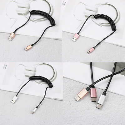 Spring coiled retractable USB A male to type c USB-C data charging cable P fQ