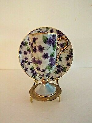Vintage Royal Sealy China Cup & Saucer Set Purple Violets Tea Cup Iridescent
