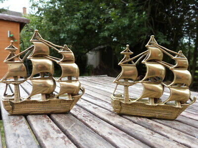 Lovely Pair Of Antique Vintage Solid Brass Nautical Ship Bookends.