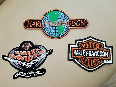 HARLEY-DAVIDSON LOT (3) EMBLEMS/PATCHES® Classic Shield*World*Racing *NEW*