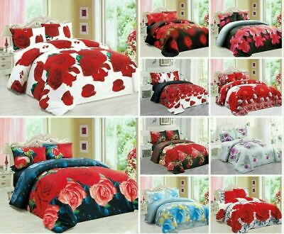 3D Effect Duvet Quilt Cover Bedding Sets with Fitted Sheet + Pillow Cases Floral