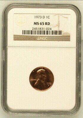 """1973 """"D"""" Lincoln Memorial Cent  """"Ngc Ms65Rd"""""""