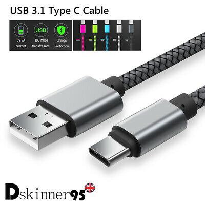 0.25-3M USB 3.1 Type-C Fast Charger Quick Data Sync Cable Charging Nylon Braided