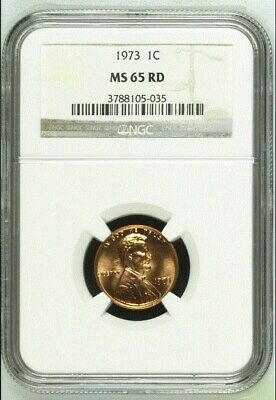 """1973 Lincoln Memorial Cent  """"Ngc Ms65Rd"""""""