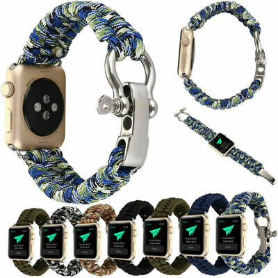 Tactical Cord Wrist Watch band Nylon Rope Strap for Apple iWatch 4 3 2  38/44mm