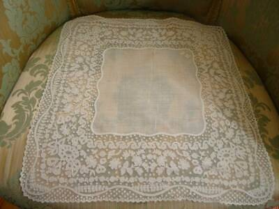 A Beautiful Antique Cornely Lace on Tulle Wedding Handkerchief C.1880