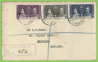 Fiji 1937 KGVI Coronation set on registered cover to England