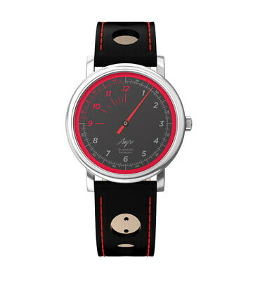 One Hand Luch Mechanical Wristwatch Black & Red. Speedometer style. 71951774