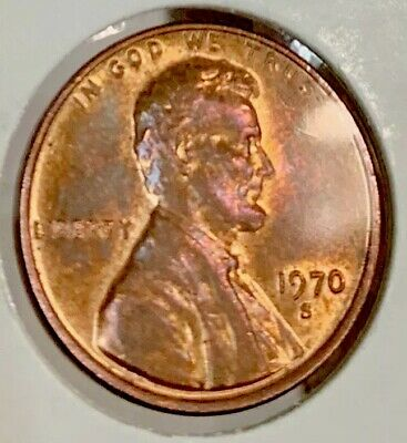 1970 S Small Date Beautiful Natural Toned BU Lincoln Penny, Double Strike Errors