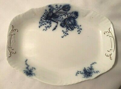 """JOHNSON BROTHERS Flow Blue """"Tulip"""" pattern 14 inch Platter-Ex Condition"""