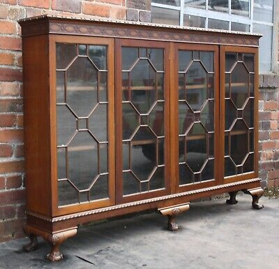 Edwardian Chinese Chippendale four door bookcase collectors display cabinet