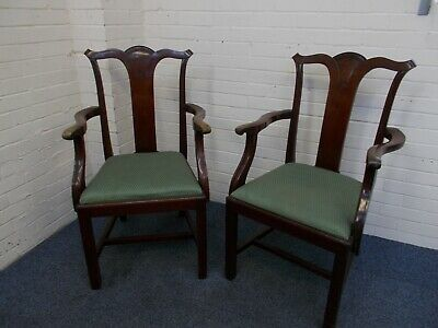 Pair of Antique Mahogany Wood Stained Carver Dining Chairs